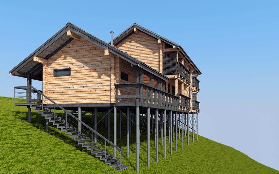 Проект модульного дома на склоне