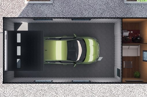Модульные здания, модульная автомойка, внутри сверху